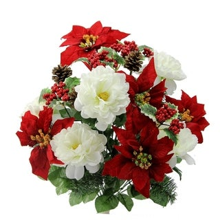18 Stems Faux Peony Velvet Poinsettia Christmas Bush