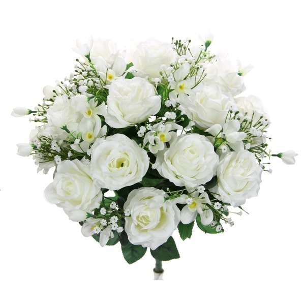 30 Stems Faux Rose Buds Filler Mixed Flower Bush