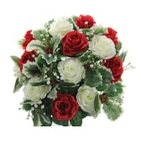 Faux Rose Buds Holly Leaf Filler Mixed Flower Bush