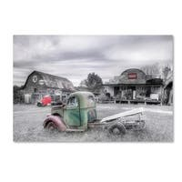 Bob Rouse 'Green And Red Bw' Canvas Art