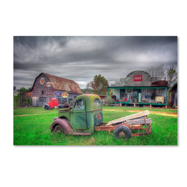 Bob Rouse 'Green And Red' Canvas Art