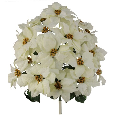 24 Stems Faux Velvet Poinsettia Christmas Bush