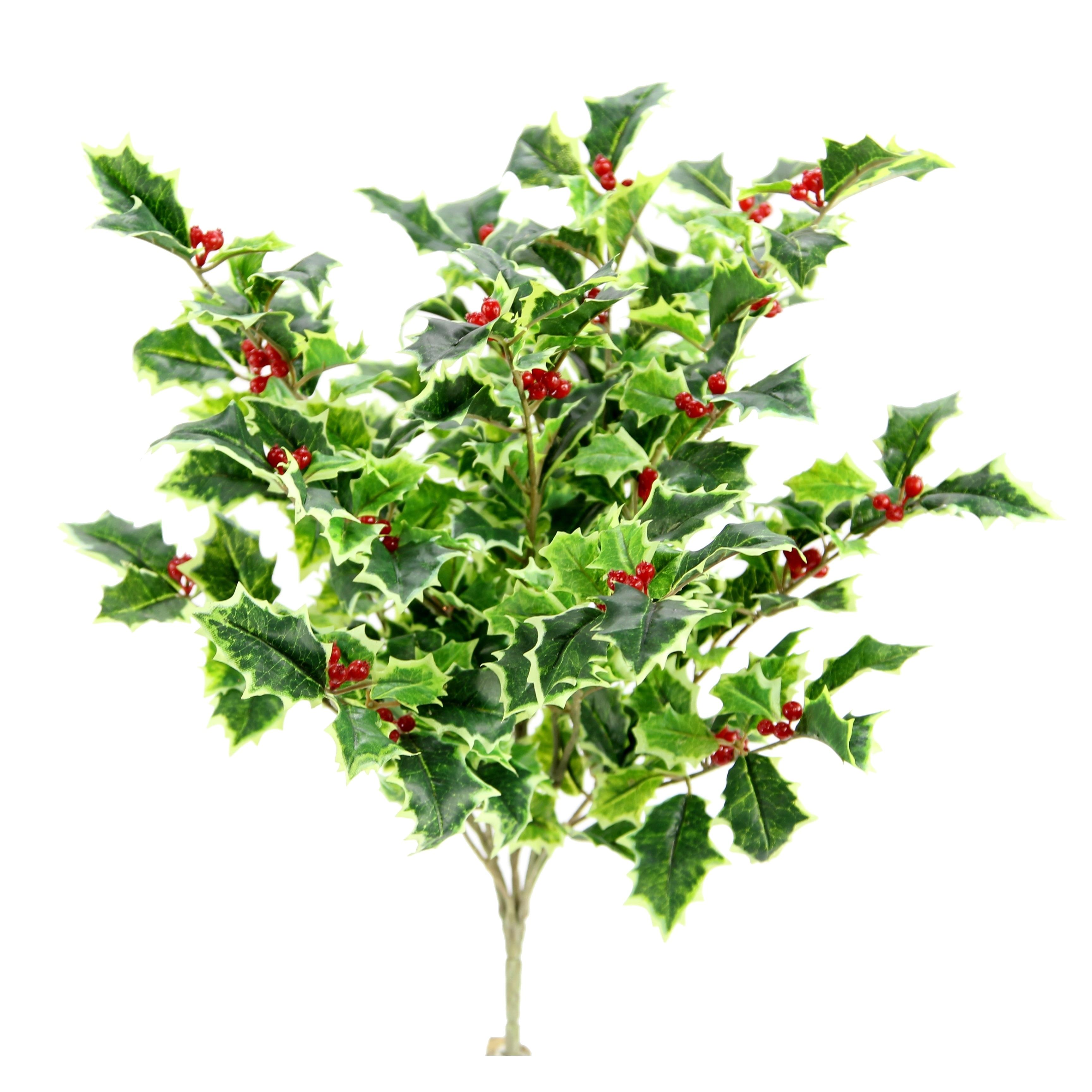 Christmas Leaves.Artificial Holly Leaves Berries Christmas Bush