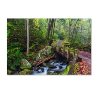 Bob Rouse 'Bridge In The Woods' Canvas Art