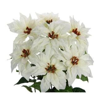 Faux Velvet Poinsettia Christmas Flower Mixed Bush