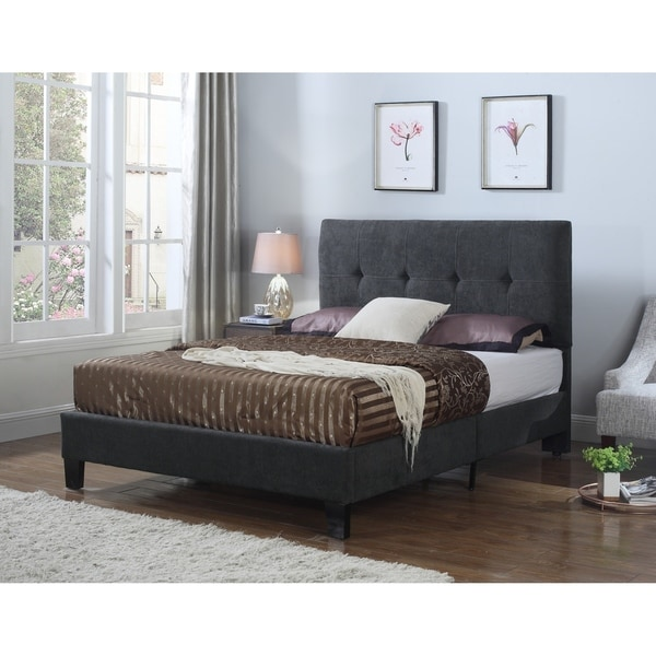 Emerald Home Harper Gray Tufted Upholstered Bed
