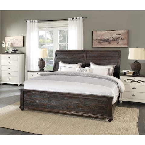 Emerald Home Mountain Retreat Dark Mocha Bed with Thick Molding, Slatted Insets, and Bun Feet, King