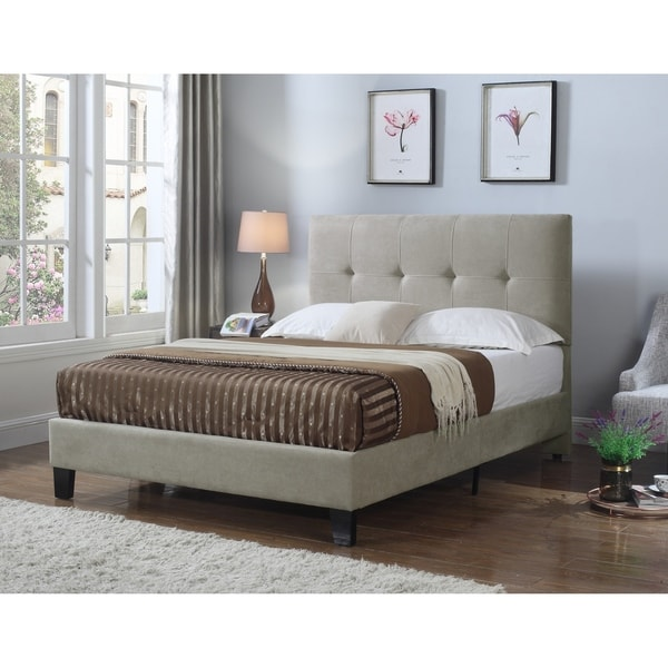 Emerald Home Harper Taupe Cal King Tufted Upholstered Bed