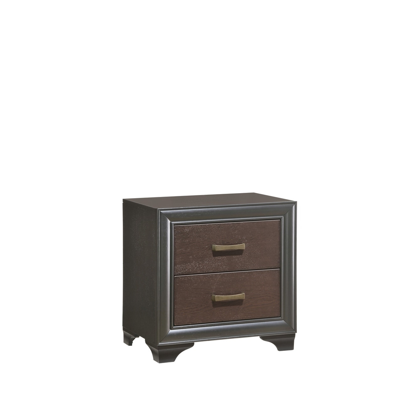 Emerald Home Prelude Honey Black 2-Drawer Nightstand (Brass)