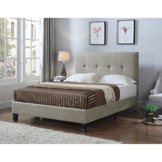 Emerald Home Harper Taupe Queen Upholstered Bed with Tufted Headboard