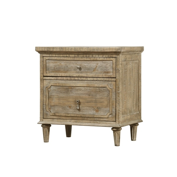 Emerald Home Interlude Sandstone Gray Nightstand with Turned Wood Legs And Vintage Look Hardware, 2-drawer