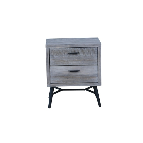 Emerald Home Nova Sterling Gray and Black Nightstand with Rustic Wood Finish And Metal Base, 2-drawer