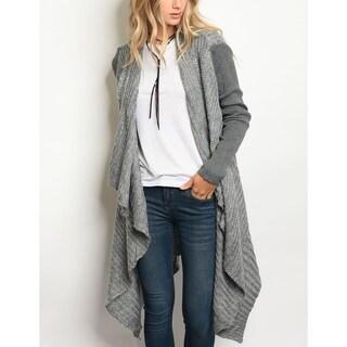 JED Women's Two-Tone Gray Cascading Long Sleeve Cardigan Sweater