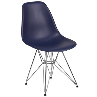 Plastic Side Chair/Chrome Base (Option: Blue)