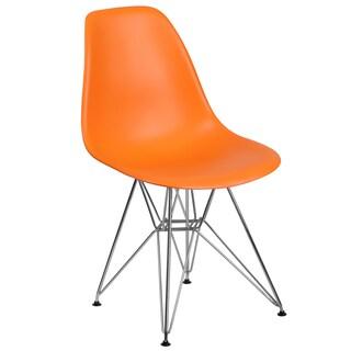 Plastic Side Chair/Chrome Base (Option: Orange)