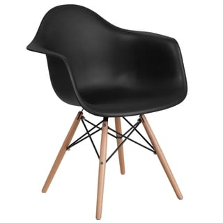 Plastic Side Chair/Wood Base