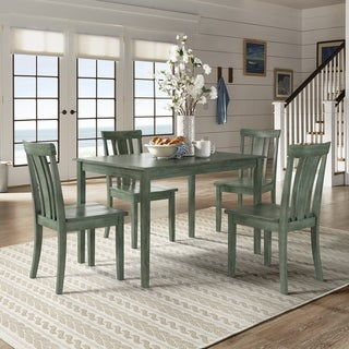 Wilmington II 48-Inch Rectangular Antique Sage Green 5-Piece Dining Set by iNSPIRE Q Classic