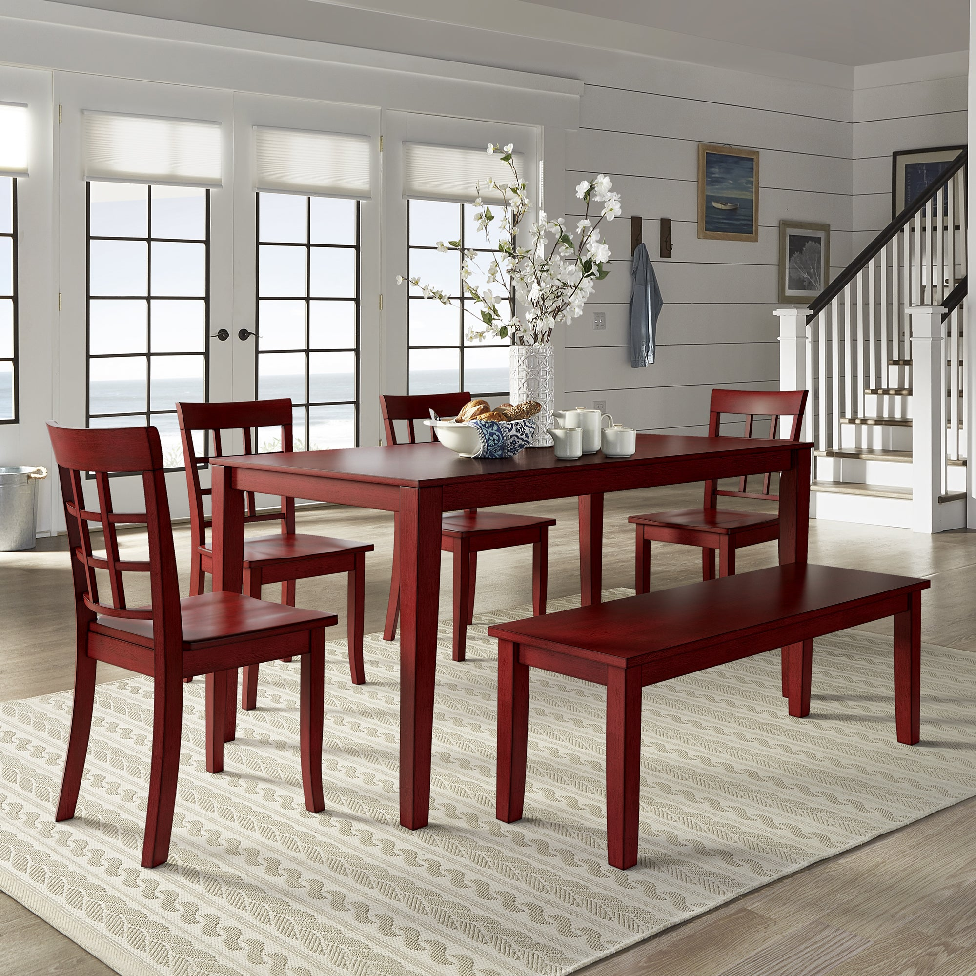 Attirant Wilmington II 60 Inch Rectangular Antique Berry Red Dining Set By INSPIRE Q