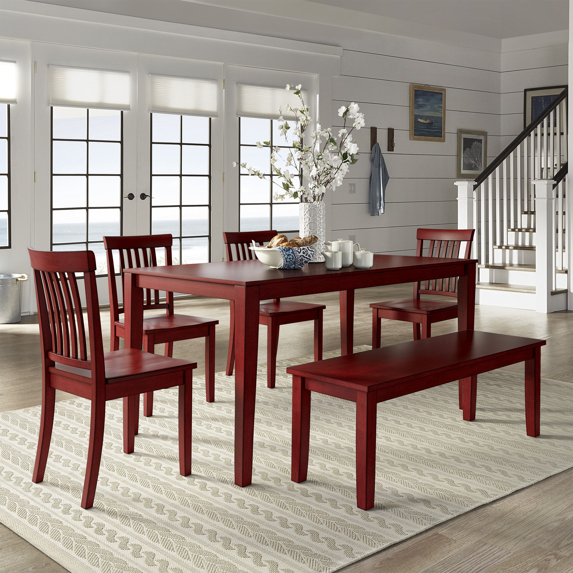 Wilmington II 60-Inch Rectangular Antique Berry Red Dining Set by iNSPIRE Q  Classic