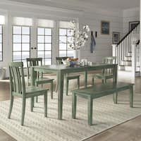 Wilmington II 60-Inch Rectangular Antique Sage Green Dining Set by iNSPIRE Q Classic