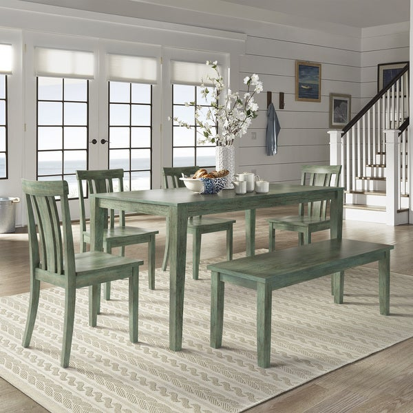 Wilmington Ii 60 Inch Rectangular Antique Sage Green Dining Set By Inspire Q Clic