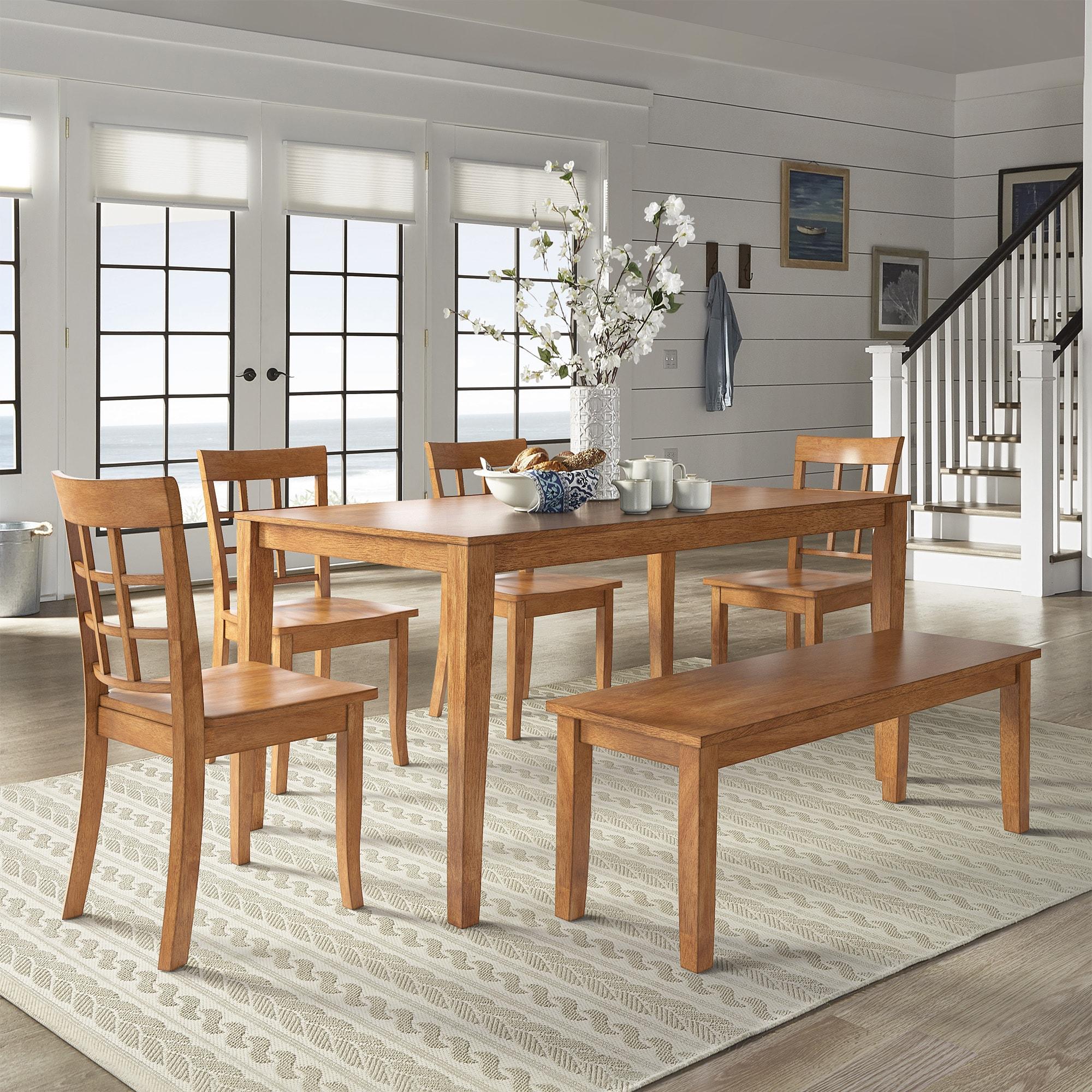Wilmington II 60-Inch Rectangular Oak Finish Dining Set b...