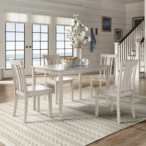 Wilmington II 48-Inch Rectangular Antique White 5-Piece Dining Set by iNSPIRE Q Classic