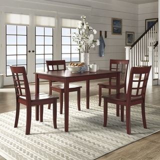 Wilmington II 48-Inch Rectangular Antique Berry Red 5-Piece Dining Set by iNSPIRE Q Classic