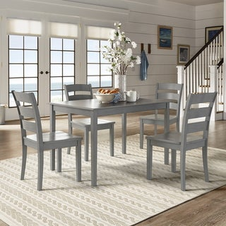 Wilmington II 48-Inch Rectangular Antique Grey 5-Piece Dining Set by iNSPIRE Q Classic