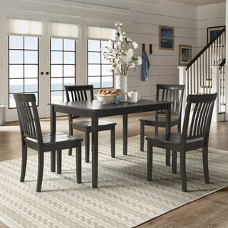 Wilmington II 48-Inch Rectangular Antique Black 5-Piece Dining Set by iNSPIRE Q Classic