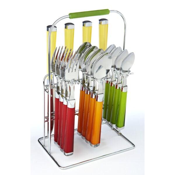Fiesta Temptation Multicolor 16-Piece Flatware Set with Rack