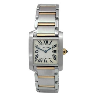 Pre-owned Midsize Cartier Two-tone Tank Francaise Watch with Silver Dial