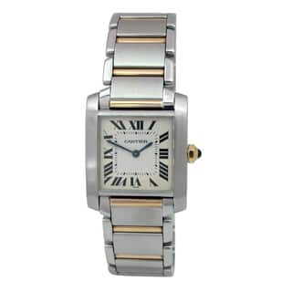 Pre-owned Midsize Cartier Two-tone Tank Francaise Watch with Silver Dial|https://ak1.ostkcdn.com/images/products/18048994/P24213618.jpg?impolicy=medium
