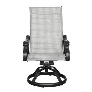 Emerald Home Versailles Onyx Outdoor Sling Swivel Chair (Set of 2)
