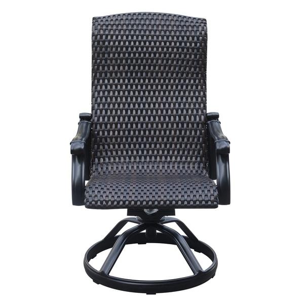 Elegant Emerald Home Versailles Onyx Wicker Outdoor Swivel Rocker Dining Chair (Set  Of 2)