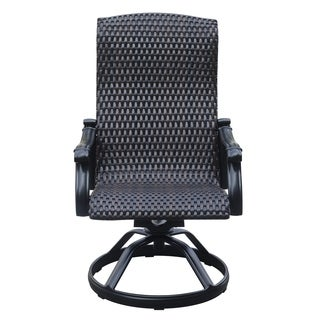 Versailles Onyx Wicker Outdoor Swivel Rocker Dining Chair (Set of 2)