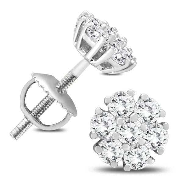 01aa11968 Shop 3/4 Carat TW Diamond Cluster Earrings in 10K White Gold - On Sale -  Free Shipping Today - Overstock - 18049099