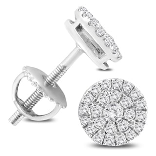 1/3 Carat TW Round Diamond Cluster Earrings in 10K White Gold