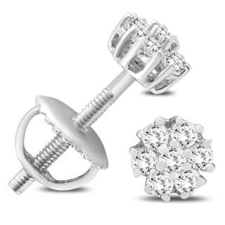 1/4 Carat TW Diamond Cluster Earrings in 10K White Gold