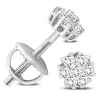 1/4 Carat TW Diamond Cluster Earrings in 10K White Gold