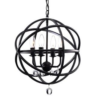 Benita Antique Black Metal Sphere 4-light Crystal Chandelier (As Is Item)