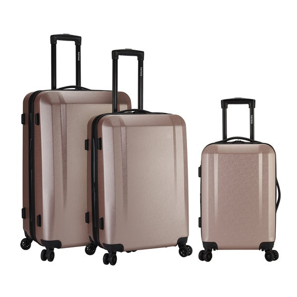 decce2808 Victoria 3 Piece Hardside Spinner Luggage Set with USB Port & Phone/Cup-