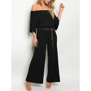 JED Women's Off Shoulder Elastic Waist Wide Leg Jumpsuit with Chain Belt