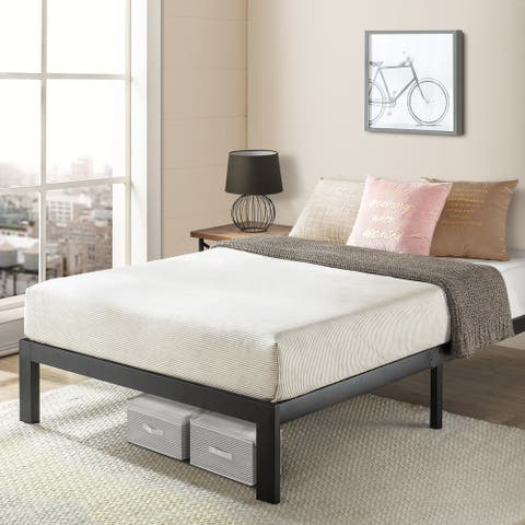Queen Size Heavy Duty Bed Frame Steel Slat Platform Series Titan E, Black - Crown Comfort