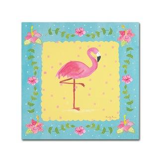 Farida Zaman 'Flamingo Dance I Sq Border' Canvas Art