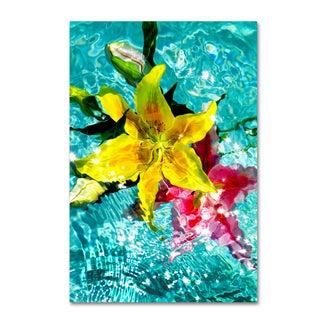 Geoffrey Baris 'Floating Lilies 3' Canvas Art