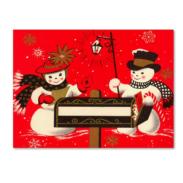 Vintage Apple Collection 'Vintage Christmas Snowmen' Canvas Art