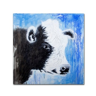 Michelle Faber 'Black And White Cow' Canvas Art
