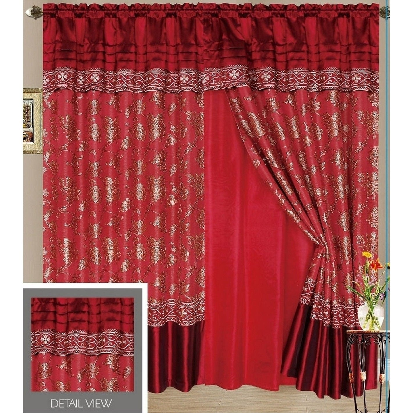 Fagor Luxury Lined Curtain Drapes Set and Valance Window ...