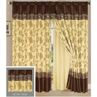 Ocean Luxury Lined Curtain Drapes Set and Valance Window Treatment 2 Panel 84-inch (Set of 2)